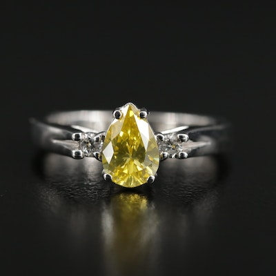 14K White Gold Diamond Ring Featuring Yellow Pear Faceted Diamond