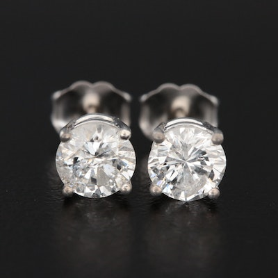 14K Gold 1.40 CTW Diamond Solitaire Stud Earrings