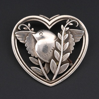 Danish Sterling Silver Bird and Heart Motif Brooch