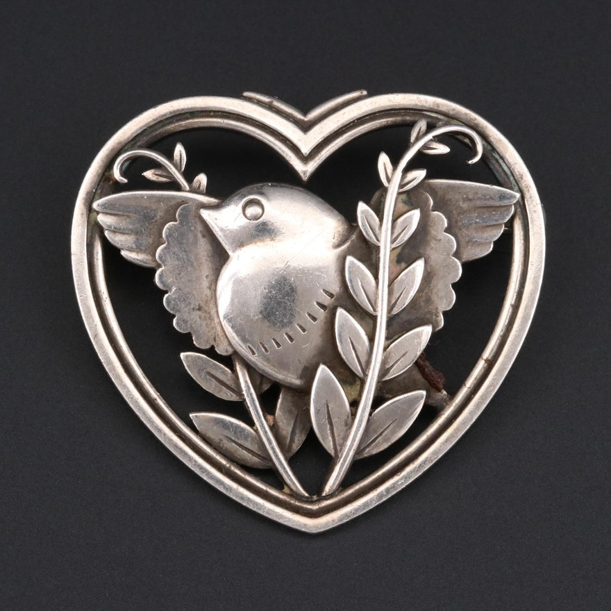 Danish Sterling Silver Bird and Heart Motif Brooch