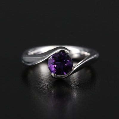 14K White Gold Amethyst Bypass Ring