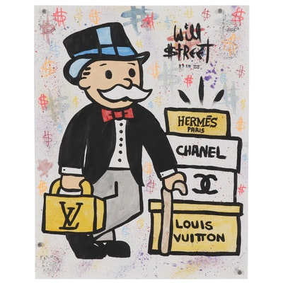 "Will $treet Acrylic Painting ""LV, Chanel, Hermes Boxes"", 2019"