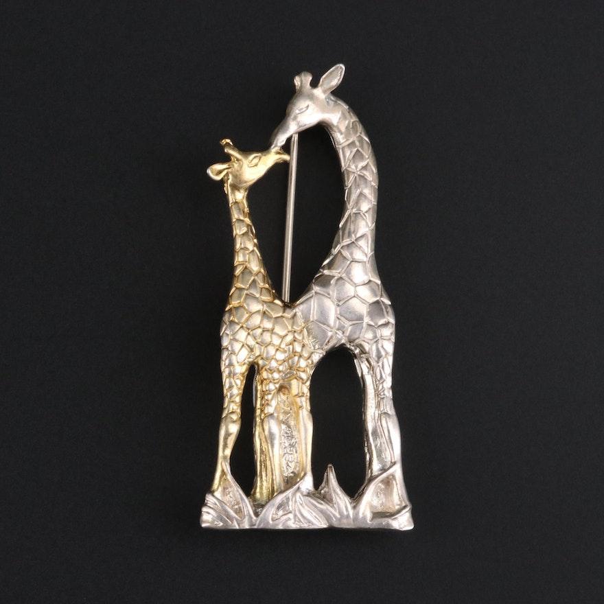 Sterling Silver Mother's Love Giraffe Brooch