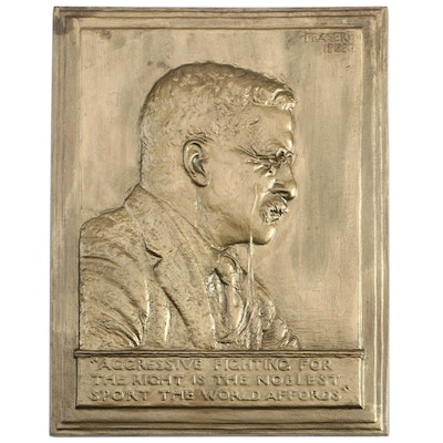 James E. Fraser Theodore Roosevelt Gilt Copper Bas Relief Plaque, 1920s