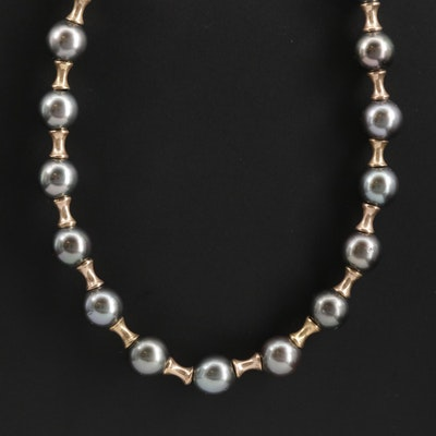 14K Yellow Gold Bead and Cultured Pearl Necklace