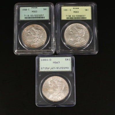 1880-S, 1881-S, and 1884-O PCGS Graded MS63 Silver Morgan Dollars