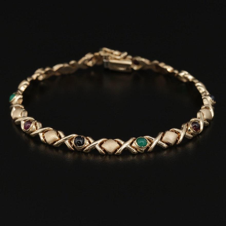 14K Gold XOXO Bracelet Featuring Garnet, Chalcedony and Sapphire