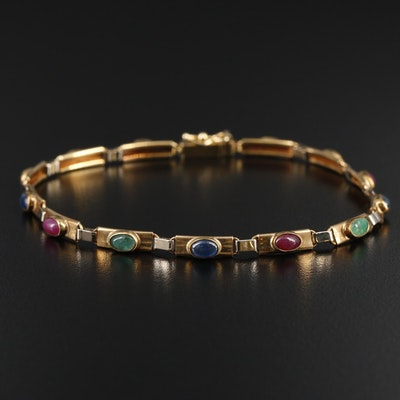 14K Yellow Gold Sapphire, Ruby and Emerald Bracelet