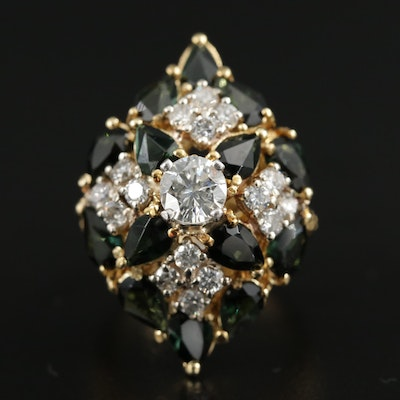 18K Green Tourmaline and 1.52 CTW Diamond Ring