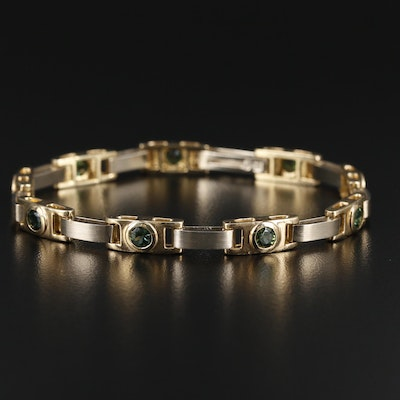 14K Yellow and White Gold Sapphire Bracelet