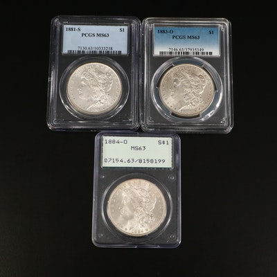 1881-S, 1883-O, and 1884-O PCGS Graded MS63 Morgan Silver Dollars