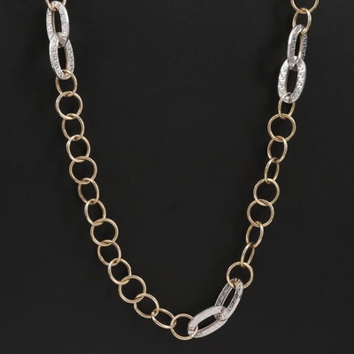 14K White Gold Links with Greek Key Motif on 14K Yellow Gold Necklace