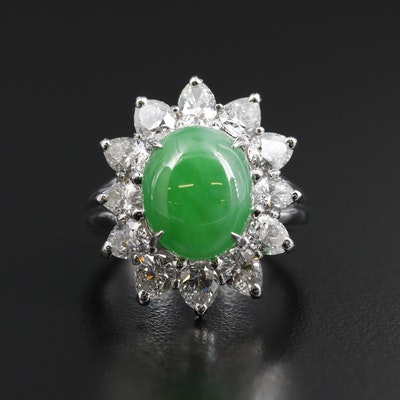 Platinum 4.92 CT Jadeite and 3.00 CTW Diamond Ring