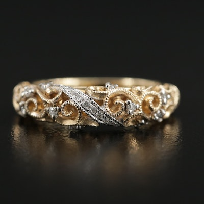 14K Yellow Gold Diamond Scrollwork Ring