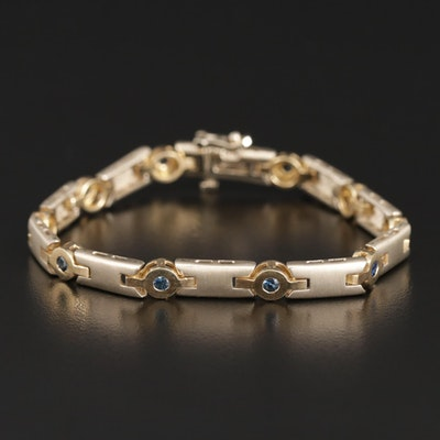 14K Gold and Sapphire Bar Link Bracelet with Polished and Satin Finish