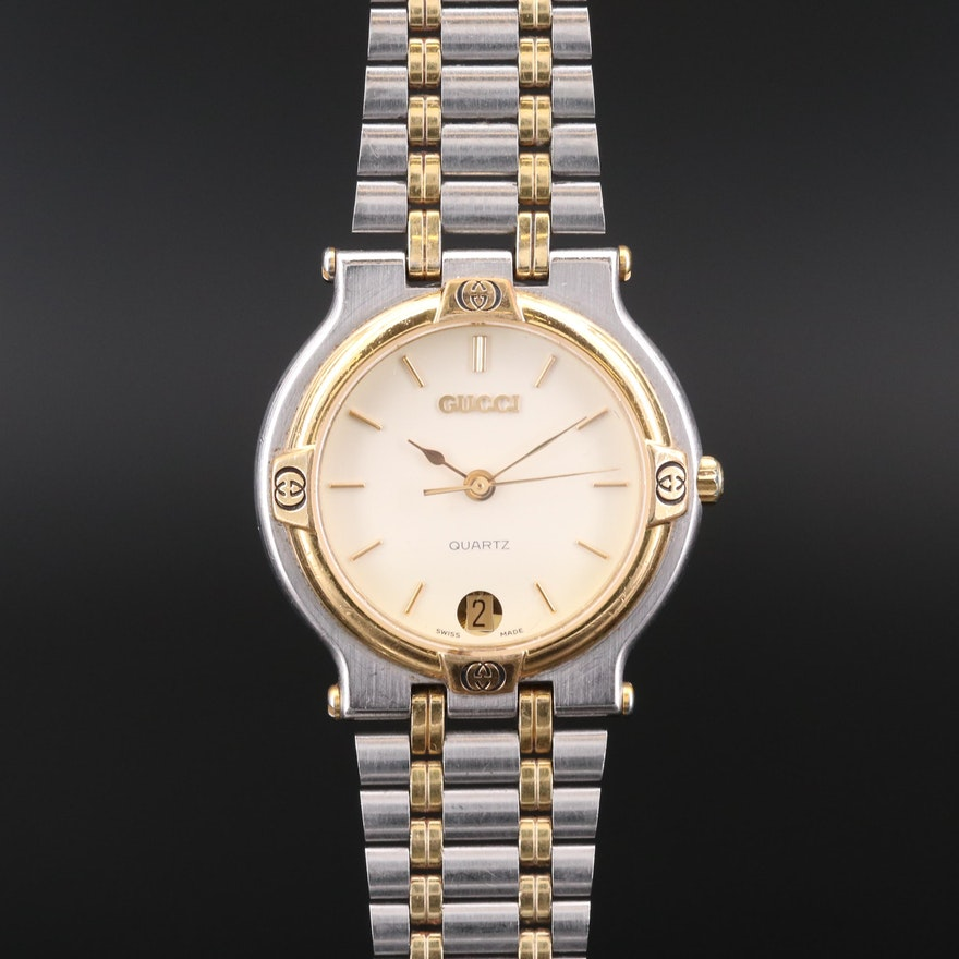 Vintage Gucci 9000M Two Tone Quartz Wristwatch