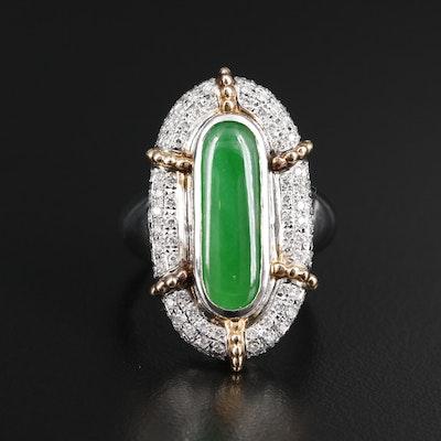 Platinum Jadeite Pointer Ring with Pavé Diamond Halo