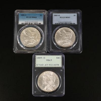1881-S, 1883-O, and 1885-O PCGS Graded Morgan Silver Dollars