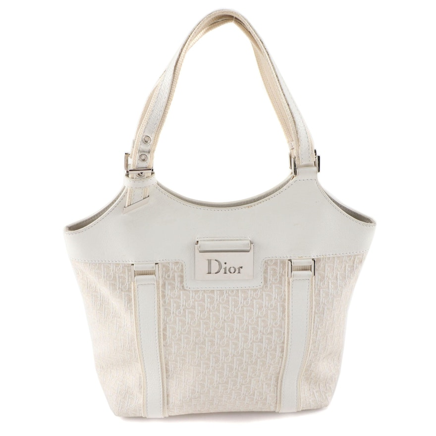 Christian Dior Tote Bag in White Oblique Jacquard Canvas and Leather