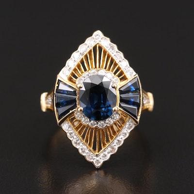 18K Sapphire and Diamond Navette Ring