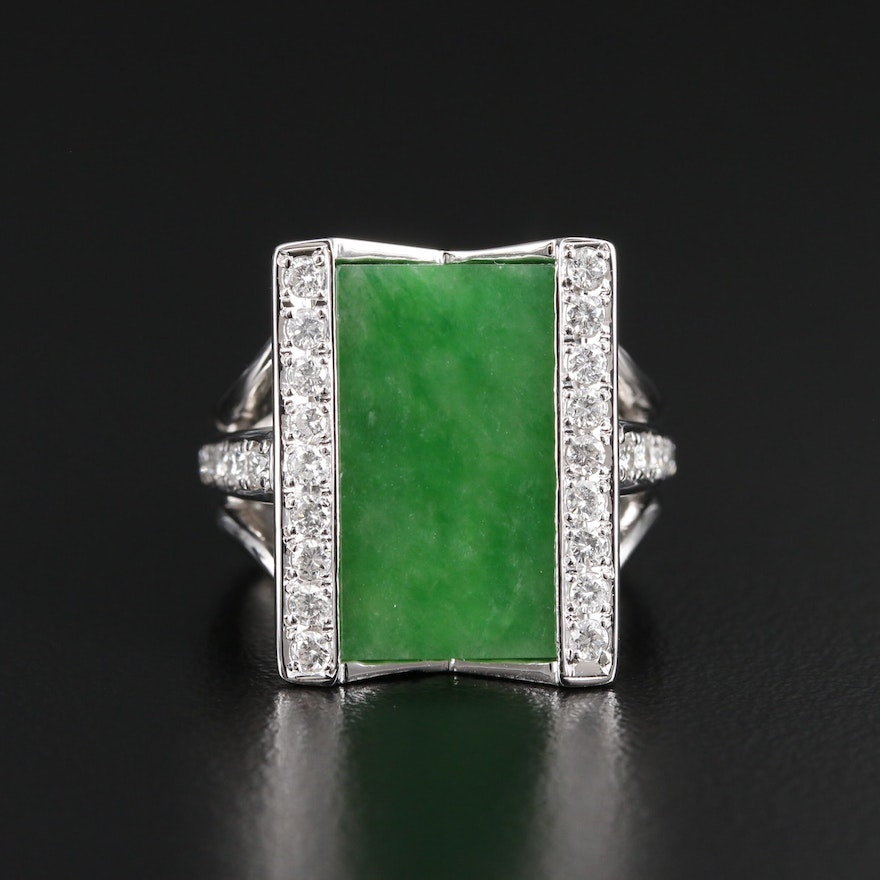Split Shank Platinum Diamond and Jadeite Ring