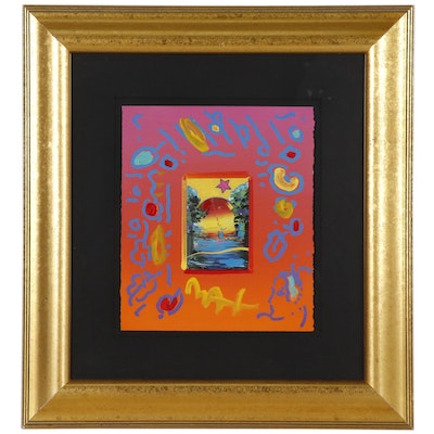 """Peter Max Mixed Media Painting """"Better World"""""""