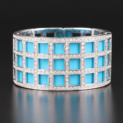 Italian 18K White Gold 5.46 CTW Diamond and Turquoise Hinged Bracelet