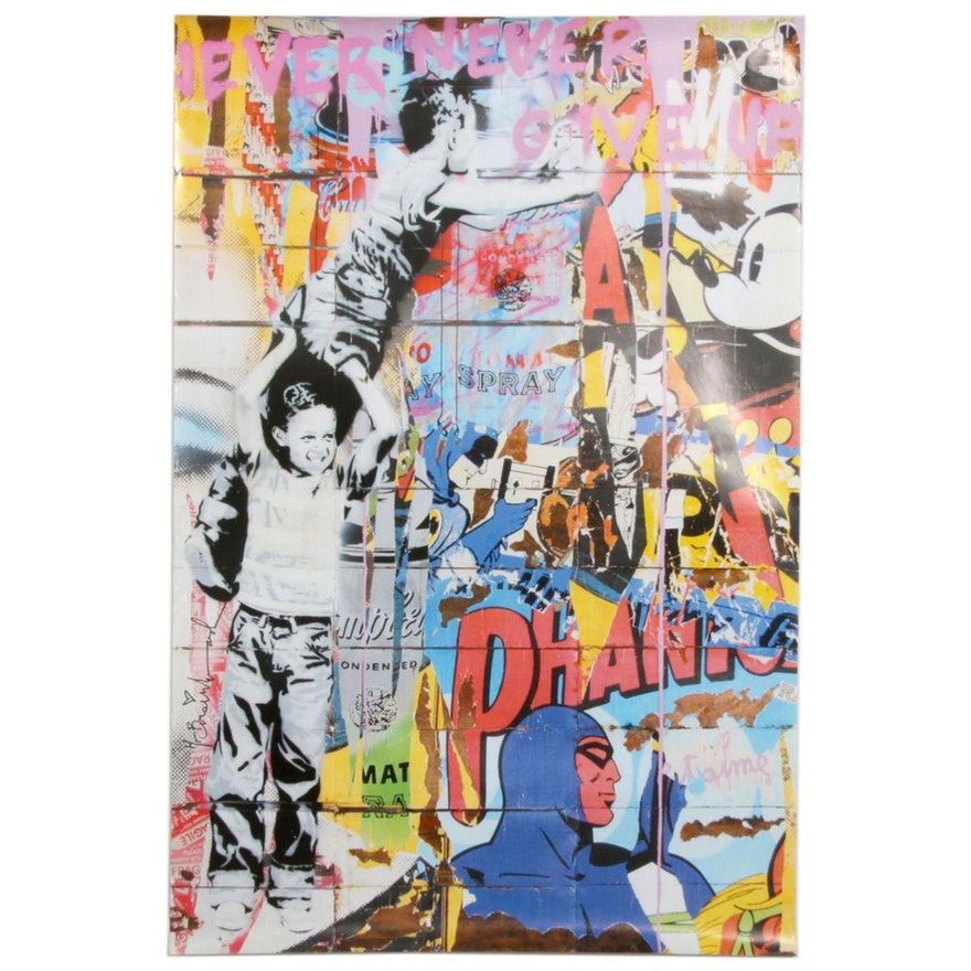 """Offset Poster Print after Mr. Brainwash """"Never Never Give Up"""""""