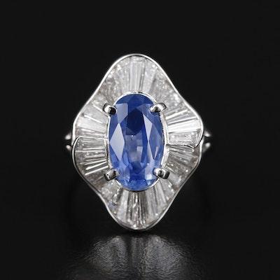 Platinum 3.10 CTW Sapphire and 1.96 CTW Diamond Ring