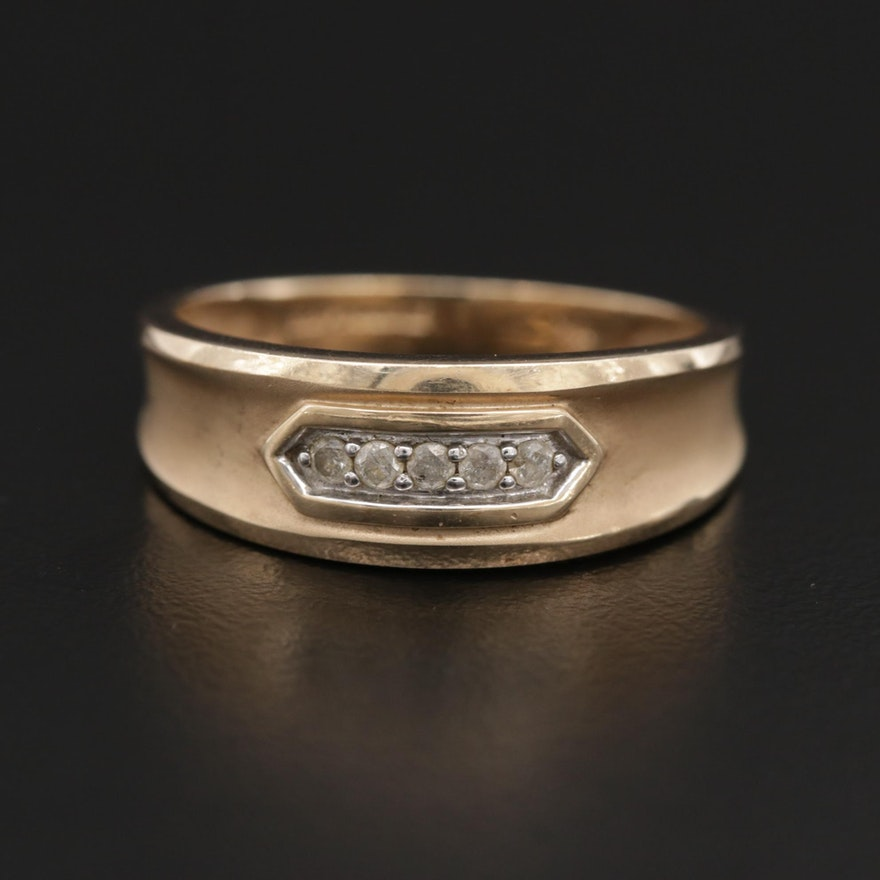 10K Gold Diamond Tapered Band