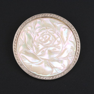 Sterling Silver Carved Mother of Pearl Brooch with Greek Key Motif