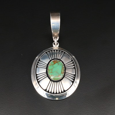 Signed Alfred Joe Navajo Diné Sterling Green Turquoise Pendant