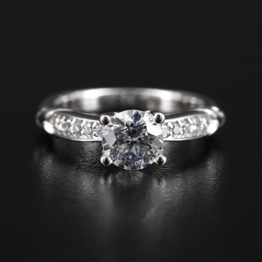 14K Gold Diamond Semi-Mount Ring with Cubic Zirconia Center