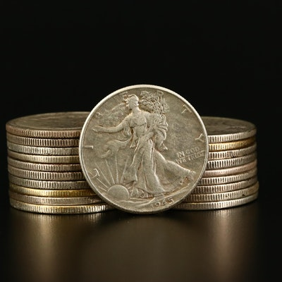 Roll of Twenty Walking Liberty Silver Half Dollars From the 30s and 40s