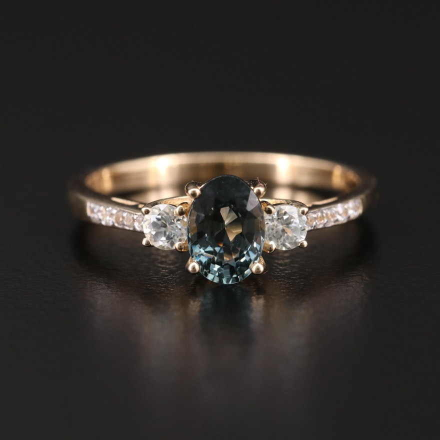 10K Gold Synthetic Spinel, Topaz and Zircon Ring