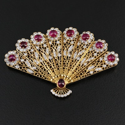 18K Yellow Gold Ruby and 2.04 CTW Diamond Fan Brooch