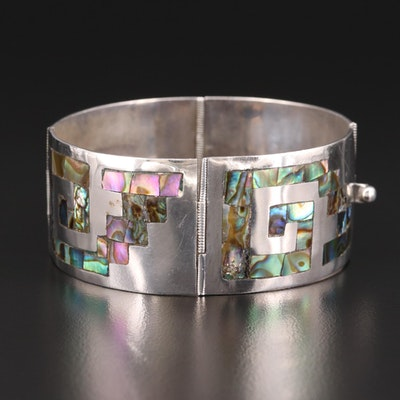 Sterling Silver Abalone Hinged Bracelet