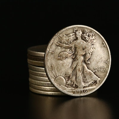 Roll of Ten Walking Liberty Silver Half Dollars From the 30s and 40s