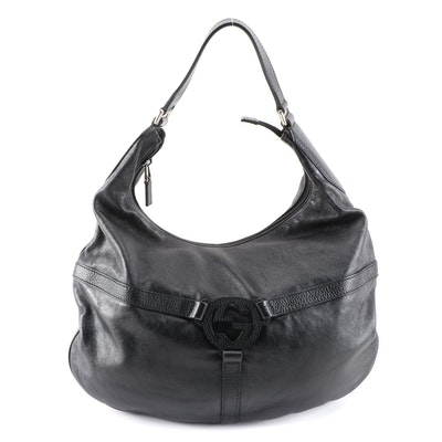 Gucci Reins Hobo Bag in Black Grained Leather