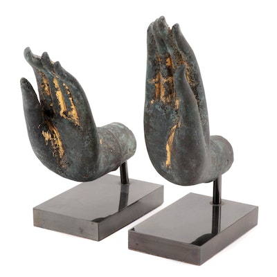East Asian Style Cast Metal Buddha Hand Figurines