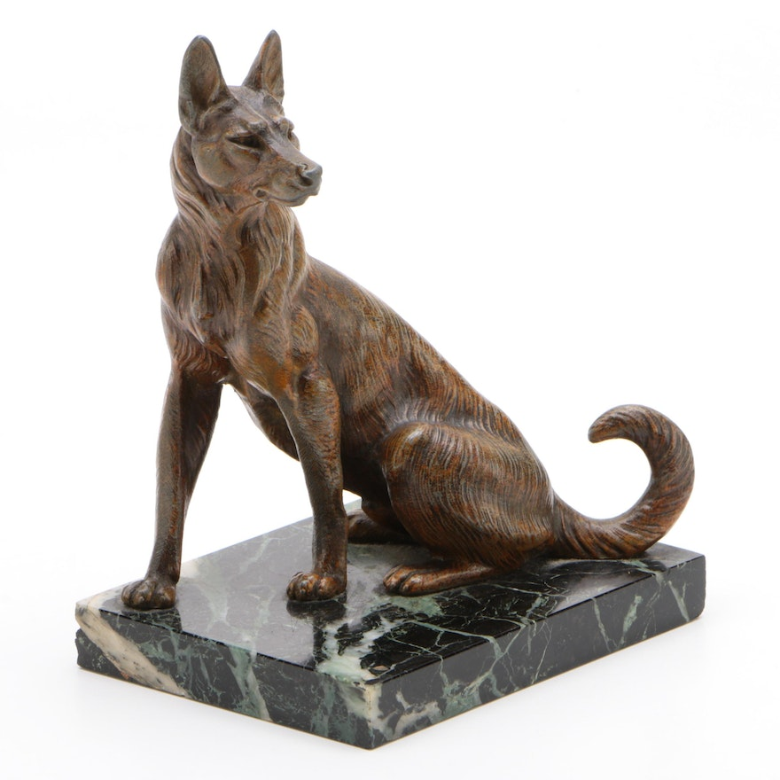 French Cold Painted Metal Dog Sculpture on Marble Base