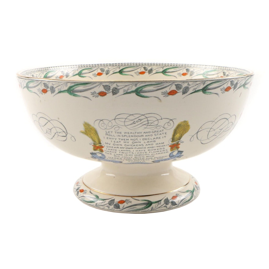 """Burgess & Leigh """"Farmers Arms"""" Earthenware Punch Bowl"""