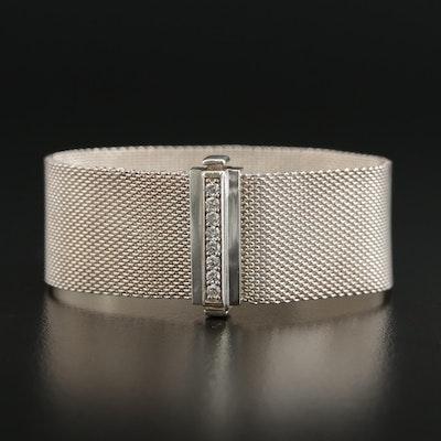 "Tiffany & Co. ""Somerset"" Sterling Silver Diamond Mesh Bracelet"