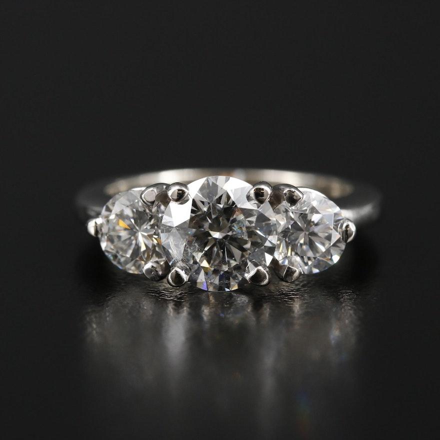 14K Three Stone 3.20 CTW Diamond Ring