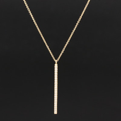 14K Yellow Gold Cubic Zirconia Bar Pendant Necklace