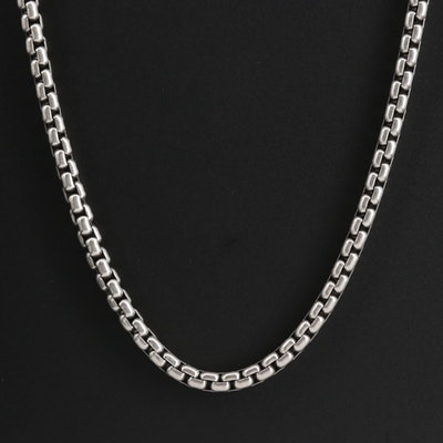 David Yurman Sterling Silver Box Chain Necklace with 14K Accent