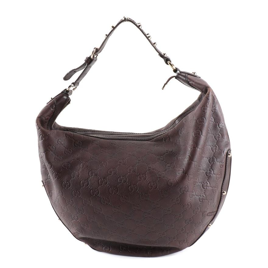 Gucci Guccissima Biba Brown Studded Leather Hobo Bag