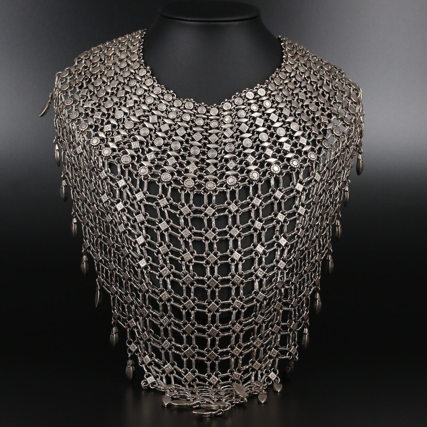 800 Silver Tribal Indian Bib Necklace