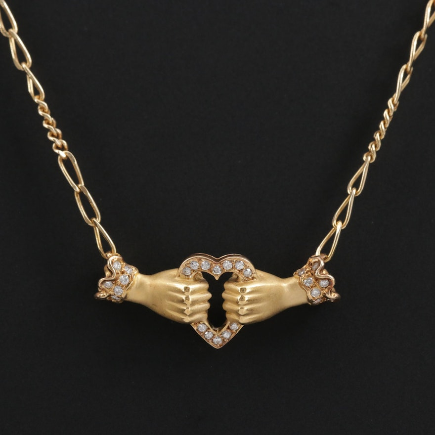 Carrera y Carrera 18K Diamond Necklace Depicting Hands Holding a Heart
