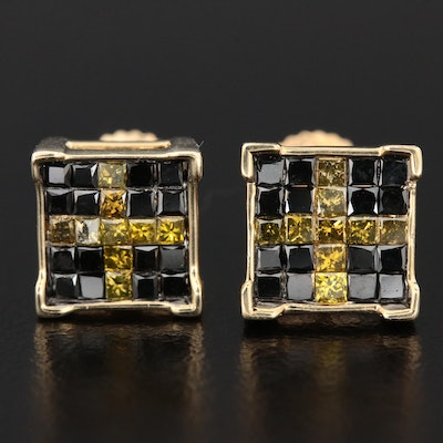14K 1.25 CTW Yellow and Black Diamond Earrings